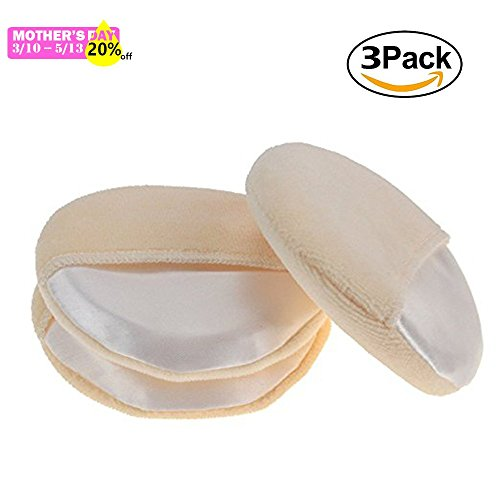 Joly High Quality Powder Puffs Ultra Soft for Face Makeup Sponge Foundation with Glove Washable 3.35 Inch (3pcs/set) (Powder Pressed Puff)