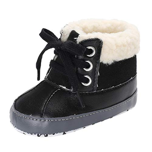 Boys' Girl's Winter Warm Plush Comfy Cute Cartoon Bedroom Bootie Slippers(Toddler/Little Kid) Baby's Boy's mesh Light Weight Sneakers Running shoesBlack3-6 Months ()