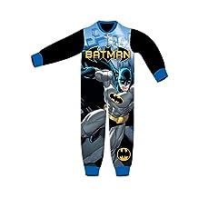 Boys Kids All In One Batman Soft Onesie Pyjamas Character Childrens Nightwear Warm