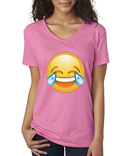 allwitty 1034 - Women's V-Neck T-Shirt Crying Laughter LOL LMAO Emoji Tears Of Joy