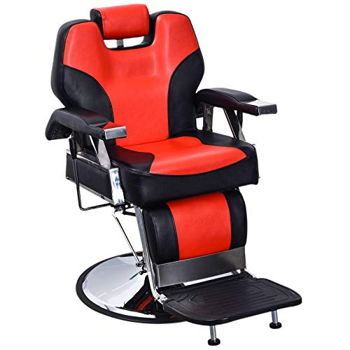 BarberPub Heavy Duty Recline Barber Chair All Purpose Hydraulic Salon Chair for Hair Stylist Spa Beauty Shampoo Equipment 2801(Black&Red)