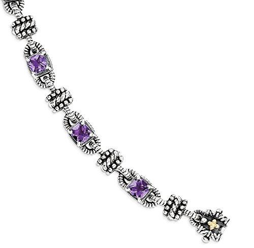 ICE CARATS 925 Sterling Silver 14k Purple Amethyst Bracelet 7.50 Inch Gemstone Fine Jewelry Gift For Women Heart by ICE CARATS (Image #1)