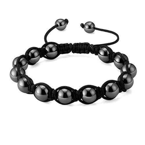 Bracelet Eye Gemstone Cat (Shamballa Style Magnetic Hematite Beads Stretch Bracelets, Friendship 8mm Magnetic Gemstone Ball Beads Macrame Handcrafted Stretch Bracelets for Men)