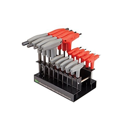 [18 Pc SAE & Metric T-Handle Ball End Hex Key Set by USATNM] (Hex T-key Set)