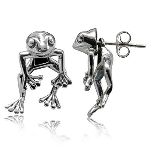 2-Piece Frog 925 Sterling Silver Dangle Post Earrings