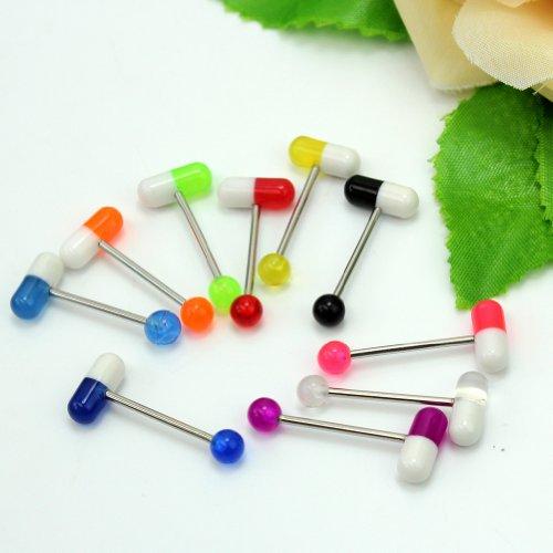10pcs Piercing langue avec Pilule 2Couleurs en Acier Inoxy décoration Bijoux