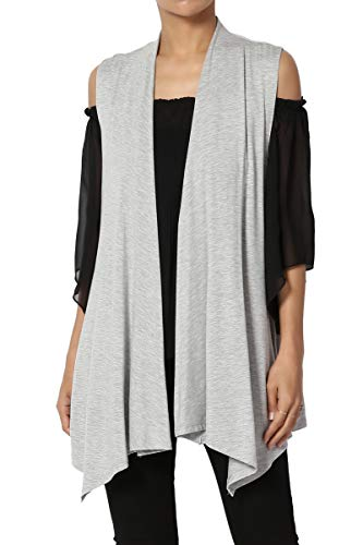 TheMogan Women's Sleeveless Waterfall Jersey Cardigan Asymmetric Vest Heather Grey M