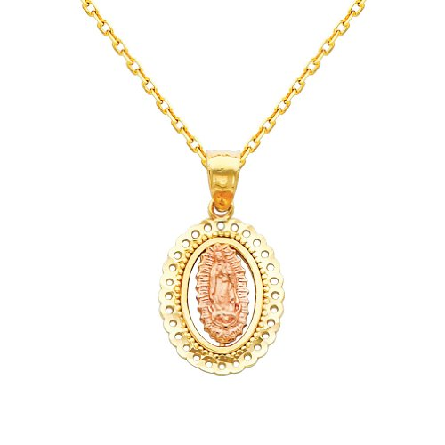 Wellingsale 14k Tone Gold Polished Religious Mary Guadlupe Charm Pendant with 1.2mm Oval Angled Cut Cable Chain Necklace - 16