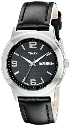 - Timex Men's T2E561 Bank Street Black Leather Strap Watch