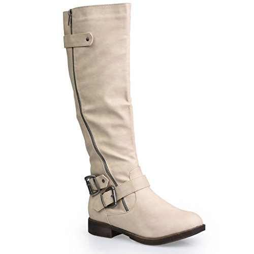 Twisted Women's Amira Asymetrical Zipper and Buckle Knee-High Riding Boot