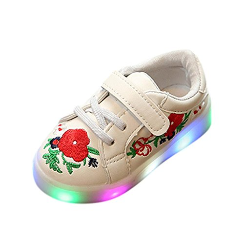 UMFun Baby Luminous Shoes, Toddler LED Light Sneakers Floral Skate Stitchwork Shoes Anti-Slip Snow Boots (5.5~6 Years Old, (Snow White Costume Toddler Uk)