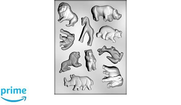 Chocolate Zoo animales juego de molde para hacer Chocolate, decoración de tartas y fondant, molde incluye, León, rinoceronte, hipopótamo, mono, jirafa, oso ...