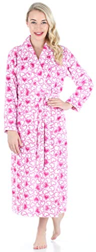 PajamaMania Women's Sleepwear Fleece Long Robe Bright Pink Hearts (PM1400-2066-2X) ()