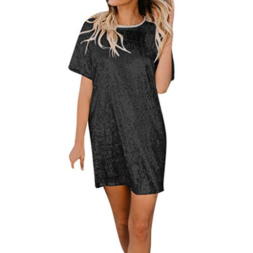 T Shirt Dress for Women Casual,SMALLE◕‿◕ Women's Swing Loose T-Shirt Fit Comfy Casual Flowy Sequin Tunic Dress Clubwaer Black
