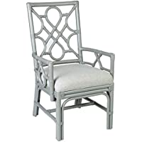 East at Main Kona Grey Contemporary Rectangle Rattan Accent Chair, 22.5x25x38.5