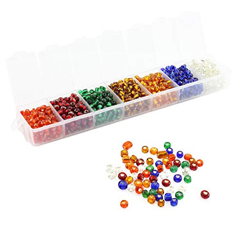 Lind Kitchen 700pcs Silver Lined Mini Glass Beads DIY Handmade Jewellery Beading Fittings Loose Seed Spacer Beads 4mm 7-Color Mixed (White, Red, Orange, Gold, Purple, Blue, Green)