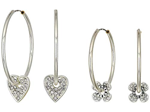 GUESS Women's Trio Multi Hoop Set with Logo, Silver, One ()