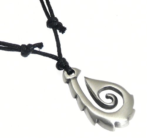 Pewter Maori Spirit Tribal Symbol Pendant on Black Cord Necklace - Adjustable 40 - 80 cm