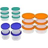 Pyrex Storage Set, Clear, Red, Orange, Blue, Green (30 pc set)