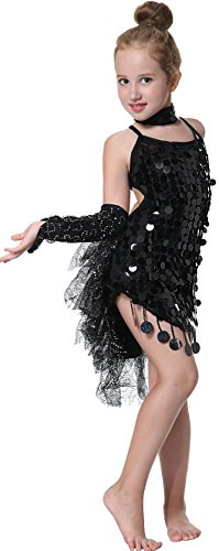 [Seawhisper Kid's Sequins Latin Dance Dress School Show Set Halloween Costumes] (Latin Costumes Dresses)