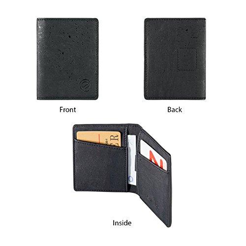 Nero Credito Da Uomo Di Protezione Portafoglio Documenti Carte Porta Vegan Corkor Rfid Sughero 17pwwH