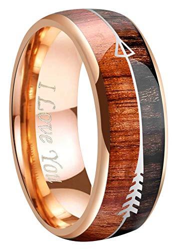 Crownal 8mm Rose Gold Tungsten Koa Wood Zebra Wood Arrows Inlay Vikings Hunting Ring Band Engraved