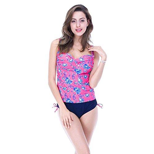 SHISHANG damas bikini traje de baño de dos piezas conjuntos de pantalones planos esponjas extraíbles son trajes de baño finos de alta elasticidad Red