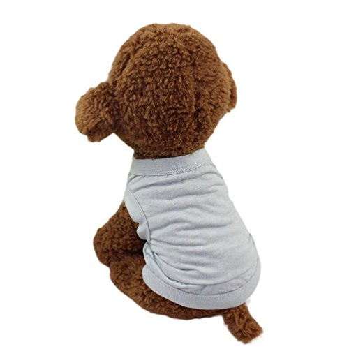 Hattfart Puppy Clothes Dog Dress Solid Color Sleeveless Cotton Tee T Shirt (L, Gray) ()