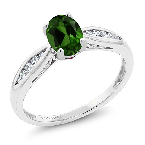 Gem Stone King 10K White Gold 0.87 Ct Oval Green Chrome Diopside and Diamond Engagement Ring (Size 7)