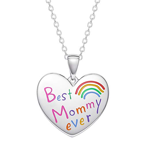 Connections from Hallmark Stainless Steel Best Mommy Ever Heart Pendant, 18