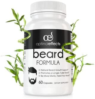 Optimal Effects Beard Growth Supplement For Men – With Natural Vitamins For Fuller, Thicker and Manlier Beard Growth – Made with Beard Growth Biotins For Faster Facial Hair Growth – 60 Veggie Capsules