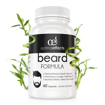 Beard Formula Supplement for Men by Optimal Effects with Vitamins for a Fuller, Longer & Thicker Beard, All Natural Complex with Biotin that Promotes Faster Facial Hair Growth - 60 Veggie Capsules