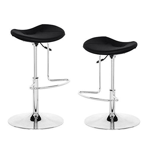 Adjustable Height Backless Modern Swivel Bar Stool Set of 2 Black Synthetic Leather Upholstery Chrome Metal Base Barstools For Kitchen Island Counter by Rainbow Hong (Leather Island)