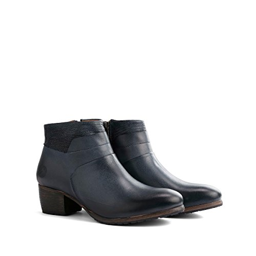Travelin Lyon Blockabsatz Stiefeletten Damen | Ankle Boots | Knöchelhohe Stiefel | Leder Schwarz & Blau Blau