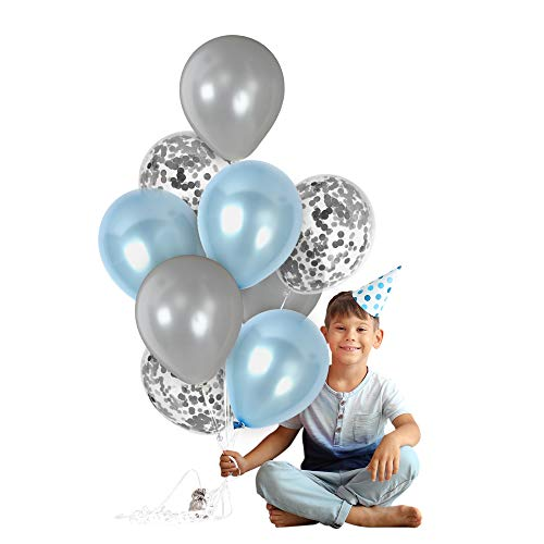 Metallic Light Blue and Silver Balloons Silver Confetti Balloon 12 Inch Latex Party Kit for Baby Shower Elephant Theme Birthday Wedding Under The Sea Party Decoration (Light Blue And Brown Baby Shower Decorations)