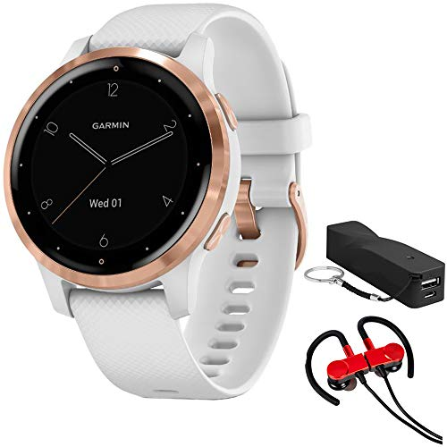 Garmin 010-02172-21 Vivoactive 4S Smartwatch, White/Rose Gold Bundle with Deco Gear Magnetic Wireless Sport Earbuds, Red with Carrying Case and Voltix 2600mAh Portable Power Bank