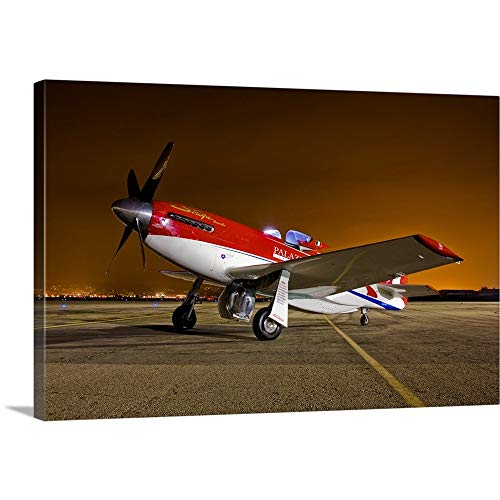 GREATBIGCANVAS Gallery-Wrapped Canvas Entitled Strega, a Highly Modified P 51D Mustang Racer by Scott Germain ()