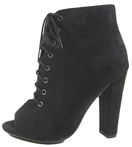 Delicious Womens Naomi Peep Toe Stacked Chunky Heel Ankle Bootie Boots