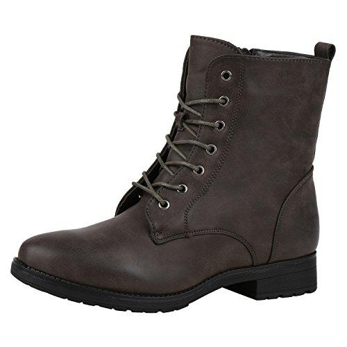 napoli-fashion Gefütterte Damen Stiefeletten Worker Boots Schnürstiefel Jennika Dunkelbraun