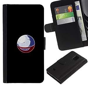 KLONGSHOP // Tirón de la caja Cartera de cuero con ranuras para tarjetas - Meter la bola del monstruo - Samsung Galaxy S5 Mini, SM-G800 //