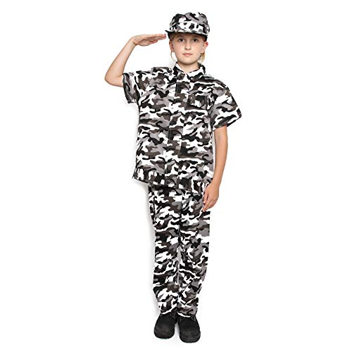 (Kids Camo Camouflage Army Military Soldier Jumpsuit Halloween Costume (Snow Short 7-9)