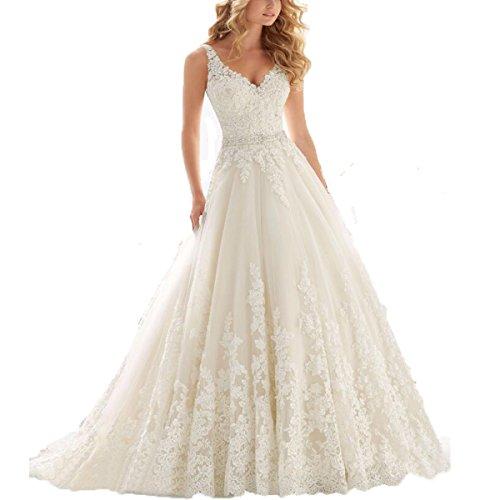8be19f79bc Fair Lady Women s Double V-Neck Lace Applique Empire Chapel Train Wedding  Dress