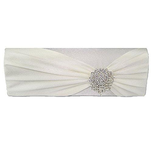 TrendStar Bolso de mano para mujeres: de boda, cristal, perlado, para fiesta - Ivoire 4