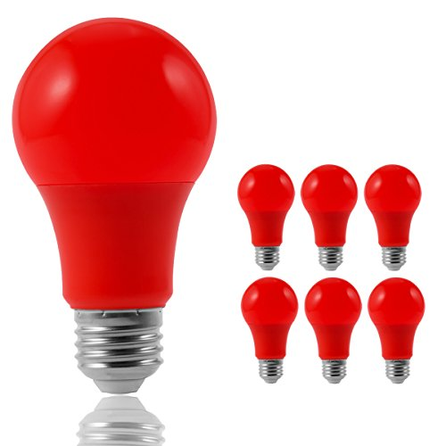 JandCase LED Red Light Bulbs, 40W Equivalent, A19 Light Bulbs with Medium Base, 6 Pack (Base Red Incandescent Light Bulb)