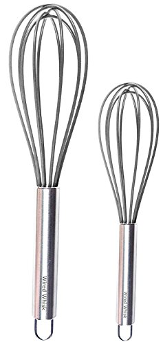 Wired Whisk Silicone Whisk Set of 2 - Stainless Steel & Silicone Kitchen Utensils for Blending, Whisking, Beating & Stirring - (12-inch, 10-inch & 8.5-inch (Two Gray) (Gray Whisk)