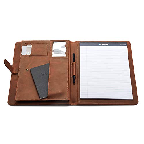 LUXBUFFALO Genuine Leather Premium Handmade Business Portfolio Organizer with Document, iPad Sleeves for Men and Women