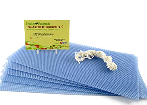 - Make Your Own Beeswax Candle Starter Kit - Includes 5 Full Size 100% Beeswax Honeycomb Sheets in French Blue and Approx. 6 Yards of Cotton Wick. Each Beeswax Sheet Measures Approx. 8