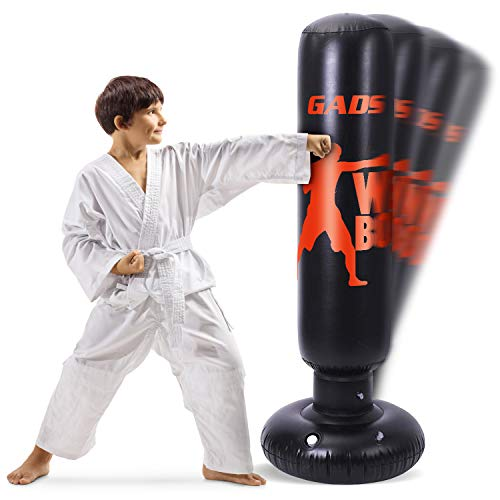 Gads Punching Bag for Kids | Premium Inflatable Bag for Immediate Bounce-Back | 62 inches Free Standing Bag for Boxing, Karate & Stress Relief