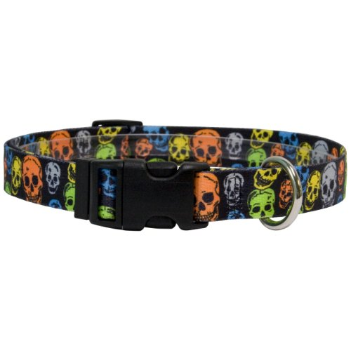 Yellow Dog Design One Size Fits All Neon Skulls Break Away Cat Collar, Null