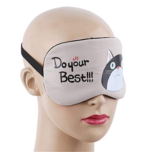 LZIYAN Sleeping Mask Cartoon Cat Sleep Eye Mask Breathable Travel Shade Cover Rest Relax Sleeping Blindfold Eye Patch,Khaki by LZIYAN (Image #4)